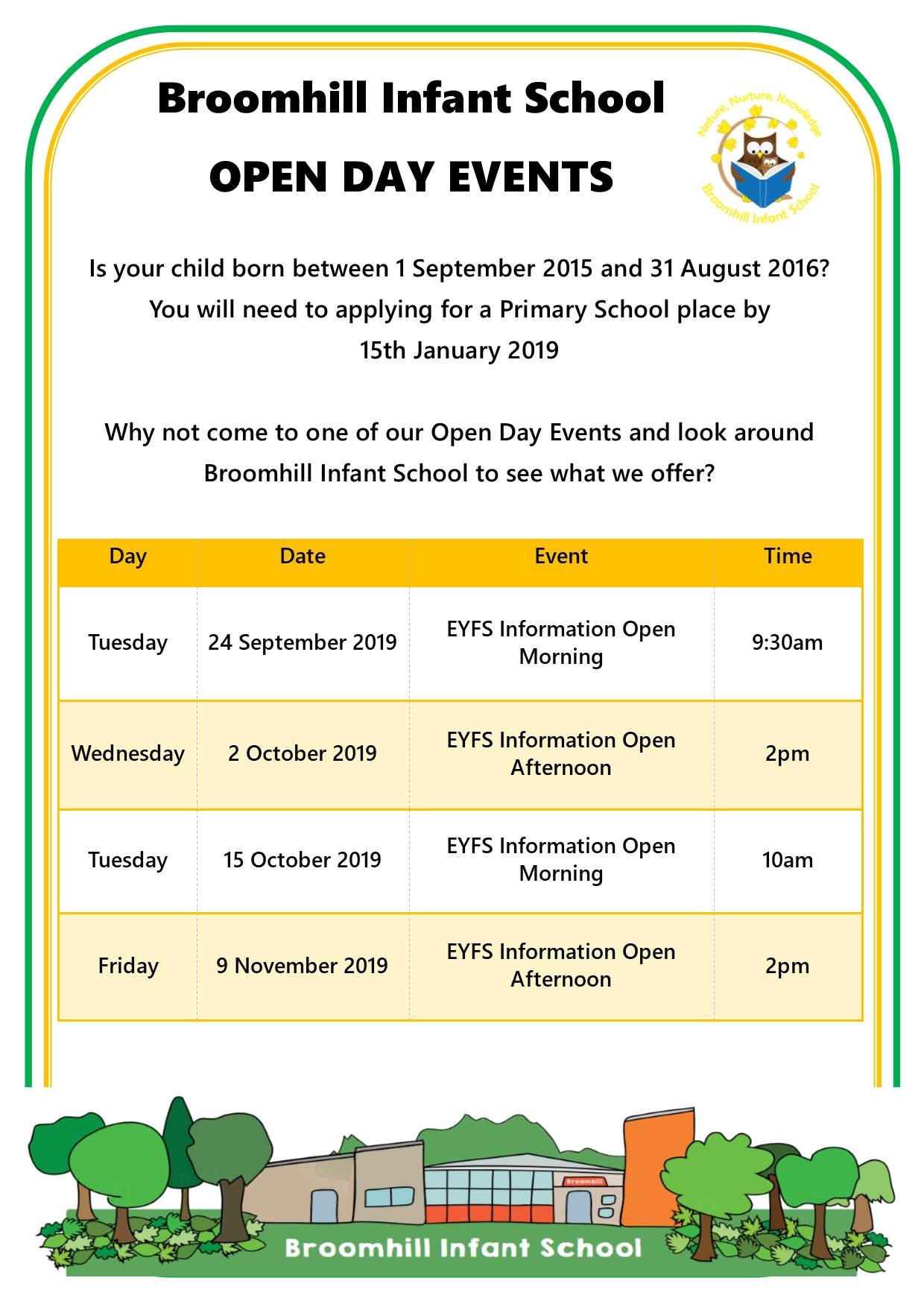 Reception Open Day Events