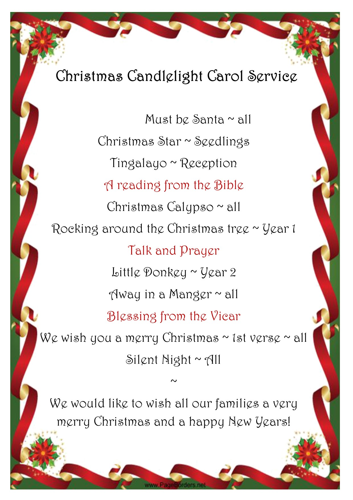 Christmas Candlelight Carol Service ~ Order of Service
