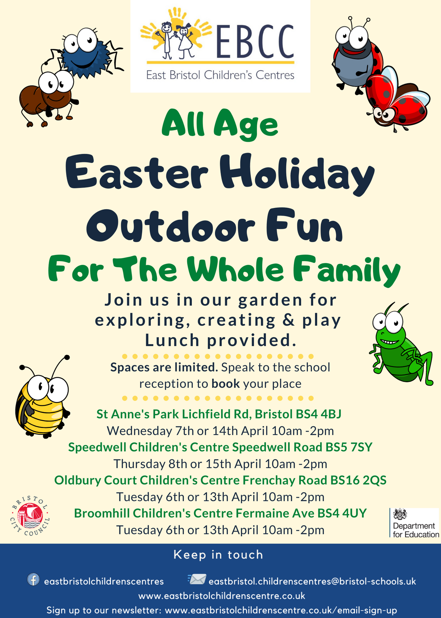Easter Holiday Outdoor Fun with EBCC and Children's Scrap Store.